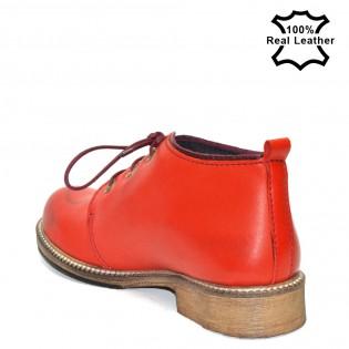 Червени дамски боти тип кларк естествена кожа F05r