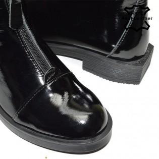 Ежедневни дамски боти в черно на средно висок ток - FA700