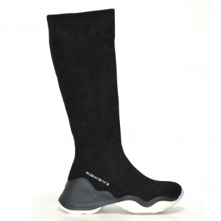 Черни, спортни, велурени ботуши - KE1168