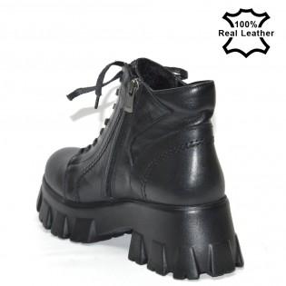Черни дамски боти кубинки - L12620