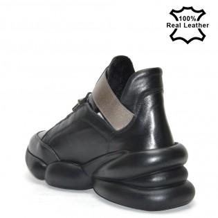 Дамски черни спортни обувки естествена кожа тип маратонки L30320