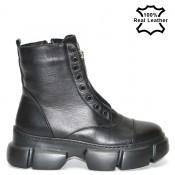 Дамски боти от черна естествена кожа - L542420
