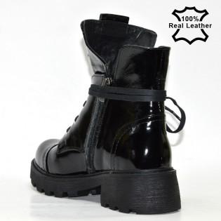 Черни дамски боти кубинки / естествен лак - LE147