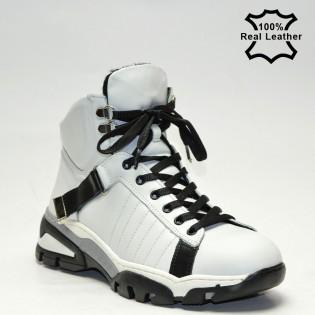 Бели дамски спортни боти, естествена кожа - LP4110